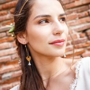 Boucles d'oreilles Baloa, doré, blanc