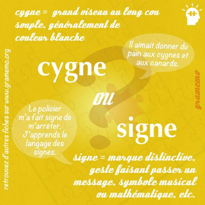 Cygne ou signe - Homophones Gramemo