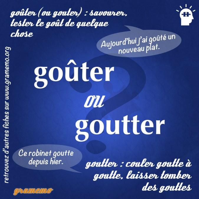 Goûter ou goutter - Homophones Gramemo