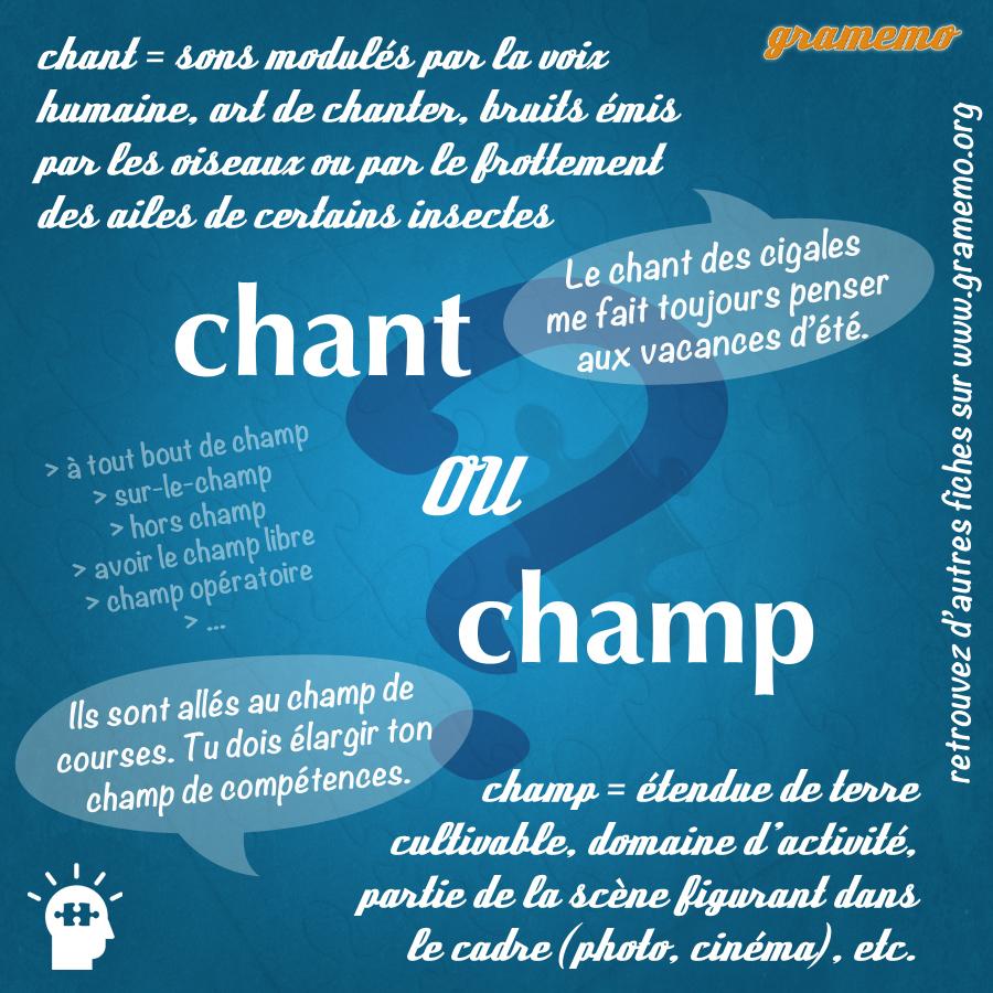 Chant ou champ - Homophones Gramemo