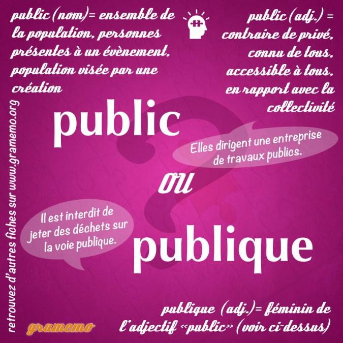 Public ou publique - Homophones Gramemo