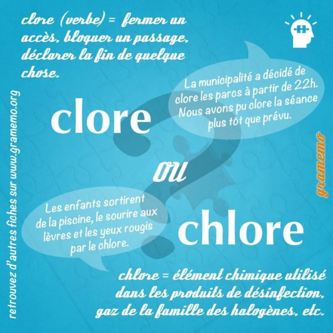 Clore ou chlore - Homophones Gramemo