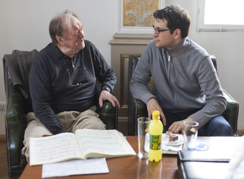Luca Pisaroni with Nikolaus Harnoncourt - photo Marco Borggreve