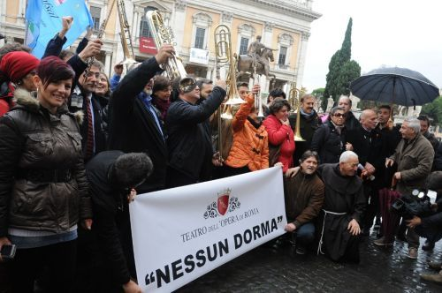 Members of Rome Opera's orchestra and chorus protest outside Campidoglio