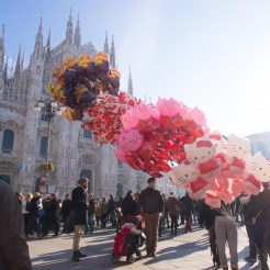 Balloons outside the Duomo in Milan