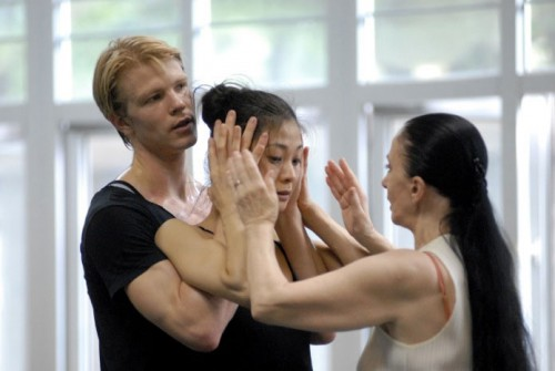 Marijn Rademaker with Sue Jin Kang and Marcia Haydée, Shanghai, Lady of the Camellias - With Sue Jin Kang and Marcia Haydee in Shanghai rehearsing Lady of the Camellias -  photo by Patricio Melo