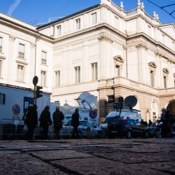TV vans outside La Scala