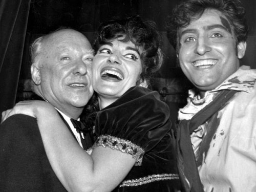 Covent Garden chief executive David Webster, with Maria Callas and Renato Cioni