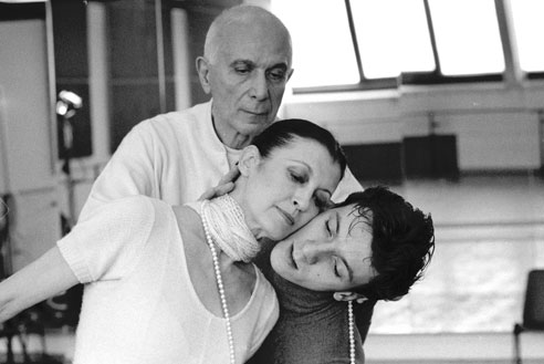 Roland Petit, Carla Fracci and Massimo Murru rehearsing the ballet Chéri