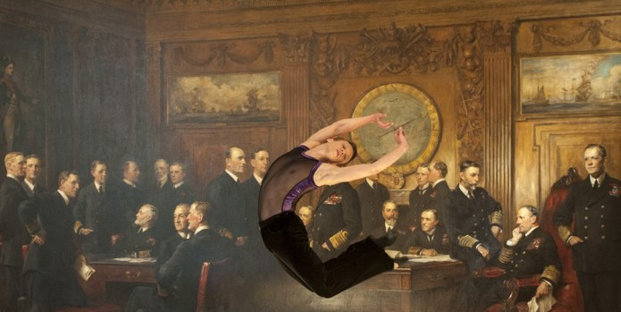English National Ballet's Anton Lukovkin dances in front of 'General Officers of World War I' by John Singer Sargent at the National Portrait Gallery, London - photo by  Jorge Herrera