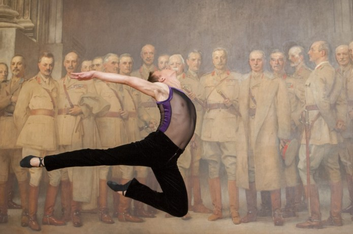 English National Ballet's Anton Lukovkin dances in front of 'Naval Officers of World War I' by Sir Arthur Stockdale Cope at the National Portrait Gallery, London - photo by  Jorge Herrera