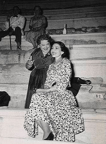 Maria Callas with Elvira de Hidalgo, 1950