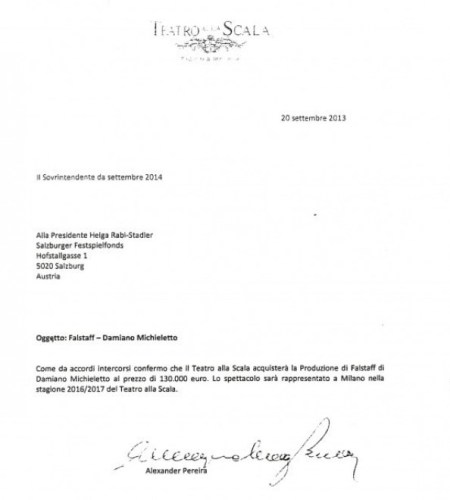 Letter from Pereira to Salzburg confirming that La Scala will buy their production of Falstaff.