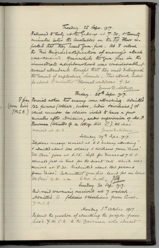 Constabulary Report Book, 25 September 1917, describing soldiers and civilians sheltering from bombing raids in the Gallery's basement © National Portrait Gallery, London