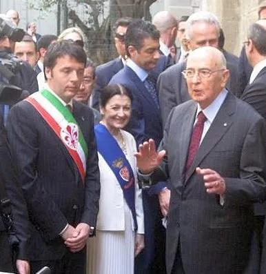 Il Presidente, Giorgio Napoletano with then Mayor of Florence Matteo Renzi and Carla Fracci - photo: Cambi/Lusena/Sanna, source corriere.it