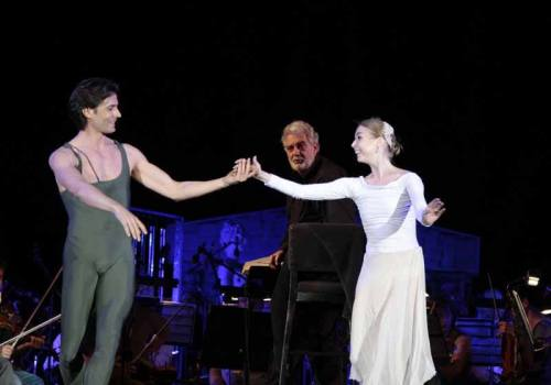 """Andrea Bocelli's """"Pathos"""" performance with Giuseppe Picone and Placido Domingo - photo by Veronica Berti"""