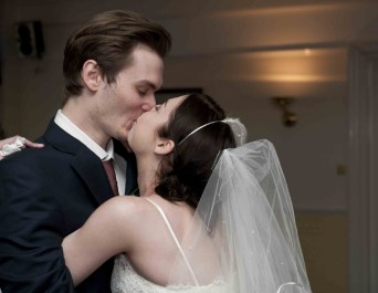 Bridgett's wedding day with her husband Jack Jones - photo by John Kerrison