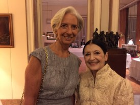 Carla Fracci at La Scala for Fidelio 7 December, 2014, with Christine Lagarde, Managing Director of the International Monetary Fund