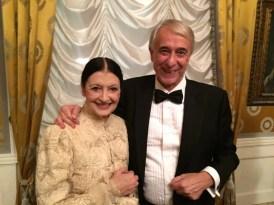 Carla Fracci at La Scala for Fidelio 7 December, 2014, with Giuliano Pisapia, Mayor of Milan