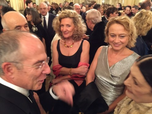 Francesco Storace, Chief Executive Officer and General Manager of ENEL, and his wife Daniela talk to Carla Fracci