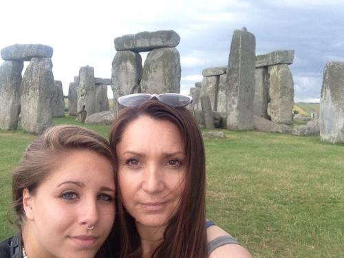 Barbara Frittoli at Stonehenge with her daughter