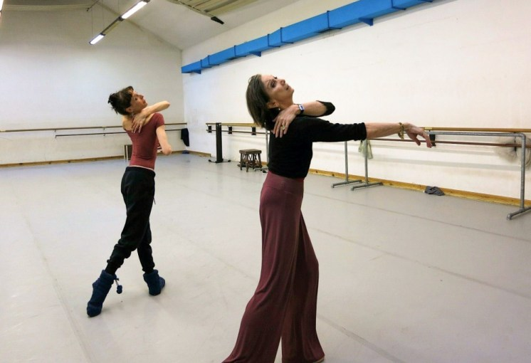 Coaching Anais Chalendard while staging Erik Bruhn's production of La Sylphide in Rome 2013 2