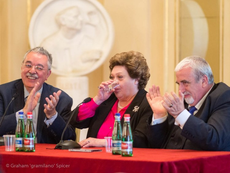 from left, Giancarlo Landini, Fiorenza Cossotto and Sabino Lenoci