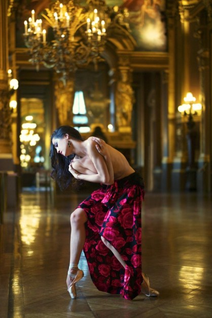 Mathilde Froustey photographed by Erik Tomasson in July 2014 in the Grand Foyer of the Paris Opera Garnier