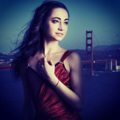 Mathilde Froustey photographed by Sebastien Mickle in May 2014 in front of the Golden Gate Bridge in San Francisco