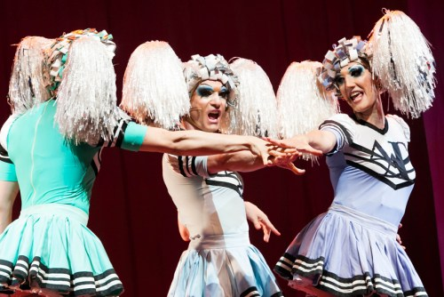Cristian Ruiz, centre, and Marco D'Alberti in Priscilla Queen of the Desert
