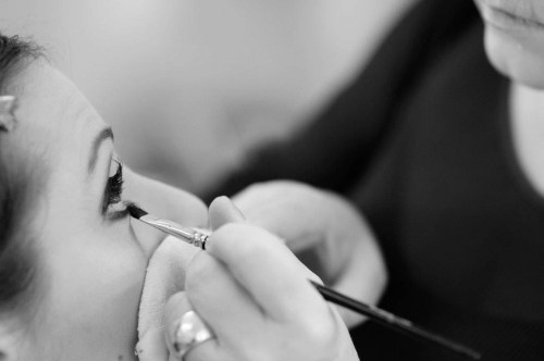 "Lisa-Maree ""having my make-up done by the wonderful Irene Ambrozy"""