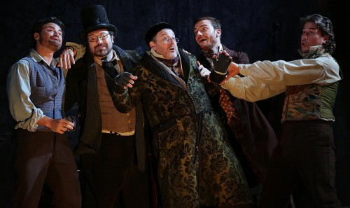 from left, Vittorio Grigolo, Carlo Colombara, Davide Pelissero, Mattia Olivieri and Massimo Cavalletti in La bohème - photo Teatro alla Scala, Brescia-Armisano 2015