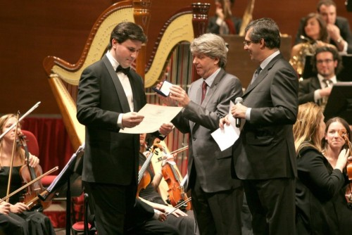 Massimo being awarded his diploma by Stéphane Lissner at the Accademia della Scala