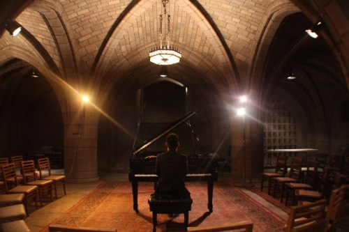 Conrad Tao warms up for the inaugural Crypt Session on 4 November 2015