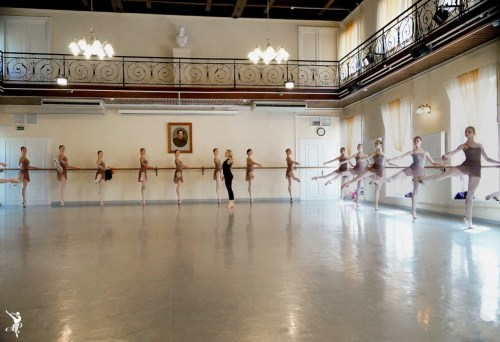 Vaganova students in class - photo by Olga Abramova.