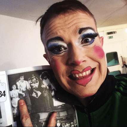 David holding the programme from his first panto in 1986