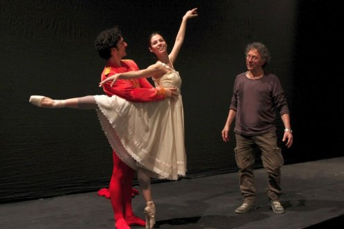 Maria Yakovleva and Alessio Carbone work with Amedeo Amodio at Teatro Massimo, Palermo 2013