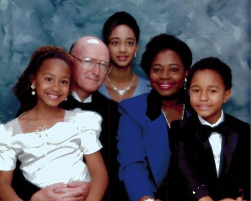 Abdiel Cedric Jacobsen with my mom, dad, and two older sisters, Raissa and Sonia