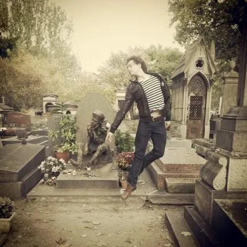 István Simon at Nijinsky's grave