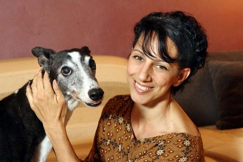 Monica Vaglietti with one Greyhound by Alberto Cattaneo