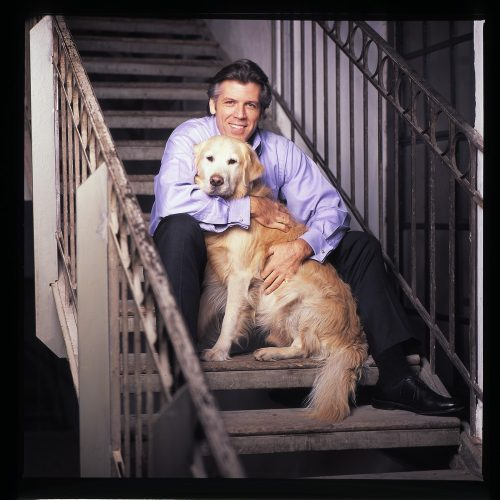 Thomas Hampson with his daughter and son in law's dog, Lenny