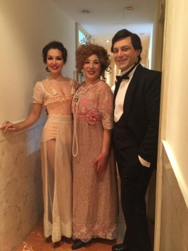 With my colleagues before a Traviata at Teatro San Carlo Alfredo is Matteo Falcier, and Flora is Giovanna Lanza