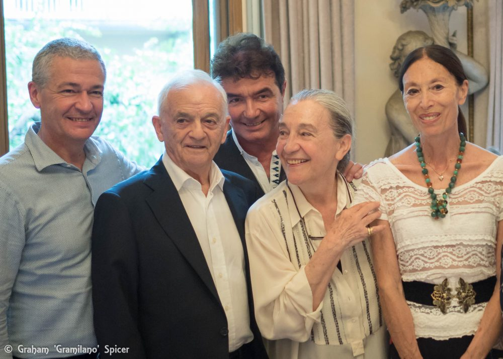 from left, Frédéric Olivieri, Ferruccio Soleri, Carlo Orlandi, Luisa Spinatelli and Luciana Savignano