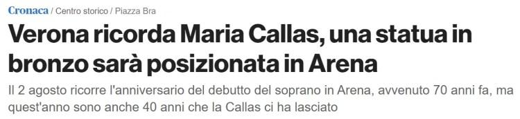 Verona ricorda Maria Callas una statua in bronzo sarà posizionata in Arena