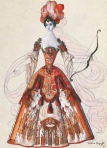 Il ritorno di Ulisse in patria, costume for Penelope by Piero Zuffi, 1964