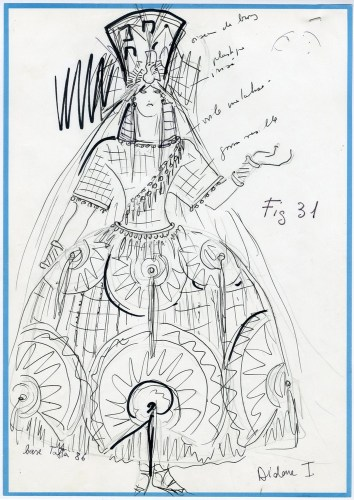 Les Troyens, costume for Dido by Karl Lagerfeld, 1981
