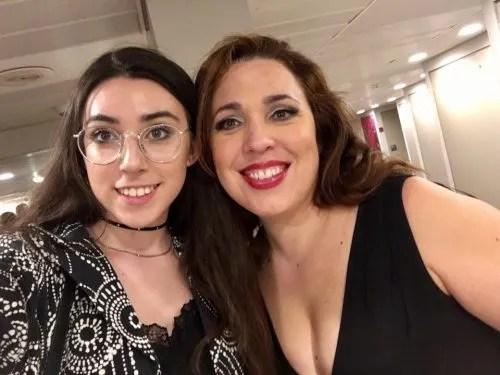 Maria José Siri with daughter Sofia backstage at the Gran Teatre del Liceu after Un ballo in maschera