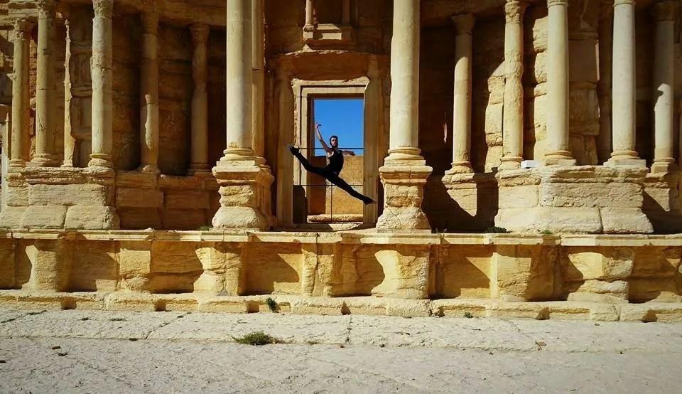 Ahmad Joudeh dancing in Palmyra