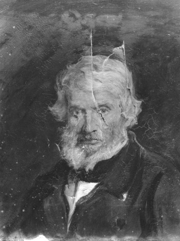 Emery Walker photograph of damage to the portrait of Thomas Carlyle by Sir John Everett Millais, 1st Bt, 1877 © National Portrait Gallery, London