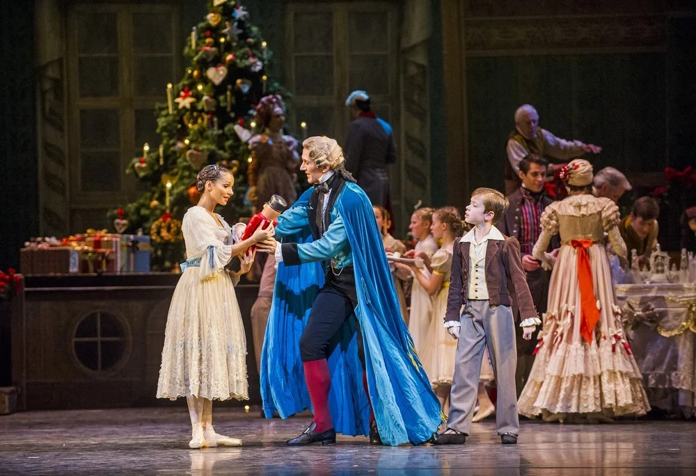 The Nutcracker. Francesca Hayward as Clara and Gary Avis as Drosselmeyer. ©ROH, 2015. Photo by Tristram Kenton